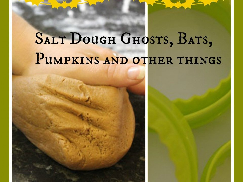 Salt dough Ghosts, bats, pumpkins and other things, halloween crafts, salt dough crafts, cookie cutter crafts
