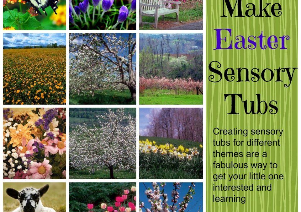 How to make easter sensory tubs, sensory tubs, spring sensory tubs