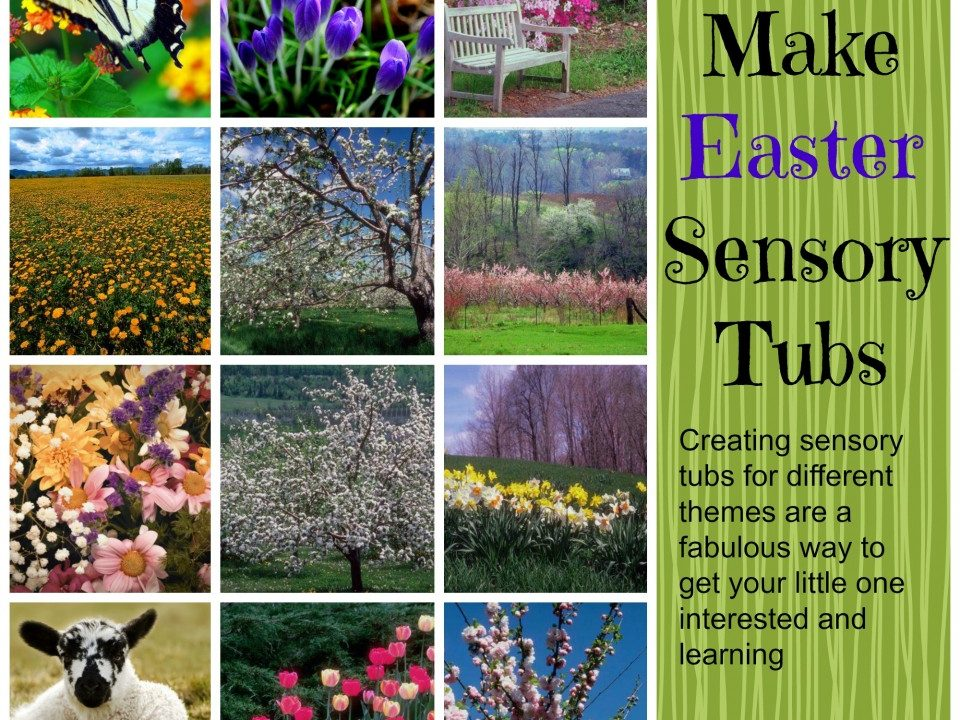 How to make easter sensory tubs, sensory tubs, spring sensory tubs