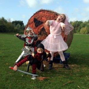 A Ninja, a Knight and a Zombie Bride, dress up, costumes