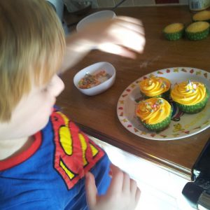 Pudsey bear cupcakes, children in need